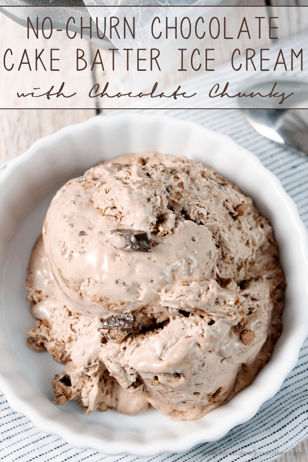 No-Churn Chocolate Cake Batter Ice Cream with Chocolate Chunks in a white bowl with a spoon.