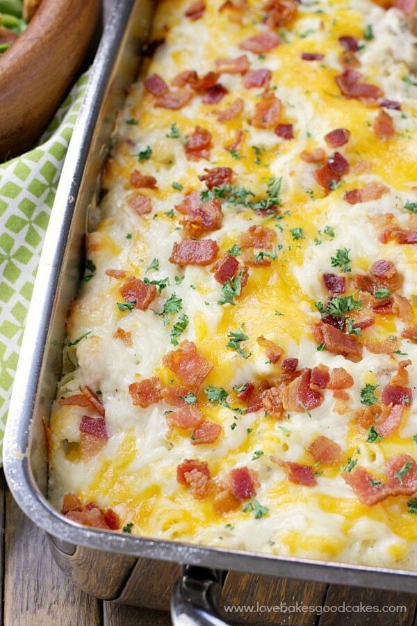 Chicken Bacon Ranch Pasta Casserole close up in a baking pan.