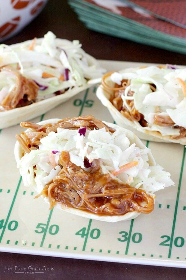 Southern-Style BBQ Pork and Coleslaw Mini Taco Boats.