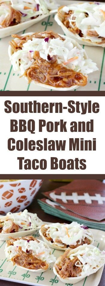 Southern-Style BBQ Pork and Coleslaw Mini Taco Boats collage.