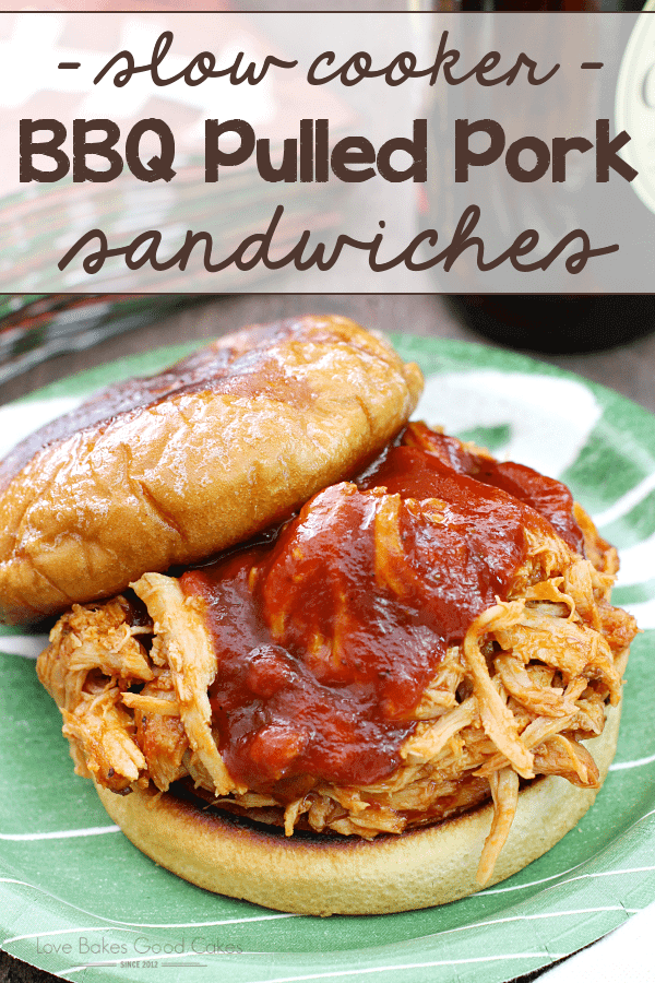 {Slow Cooker} BBQ Pulled Pork Sandwich on a green plate with the top removed.