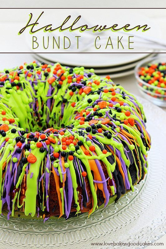 Halloween Bundt Cake on a cake plate.