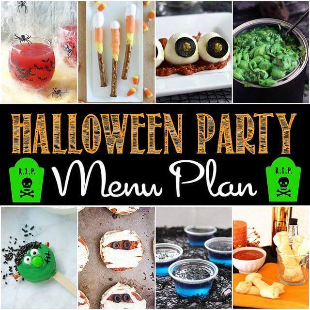 Halloween Party Menu Plan collage.