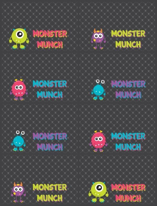 Halloween Monster Munch black printable.