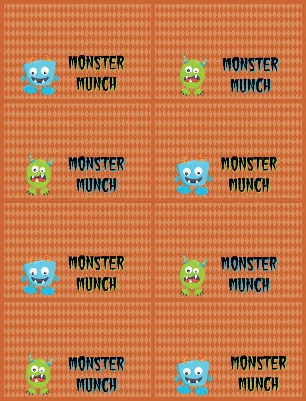 Halloween Monster Munch orange printable.