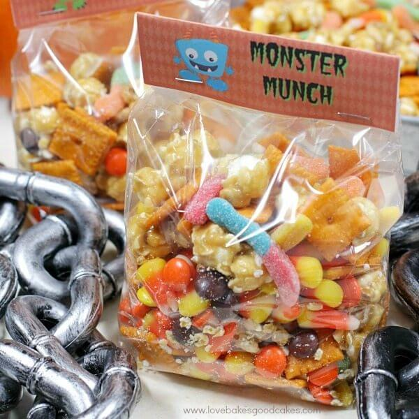 Halloween Monster Munch in bags with chains.