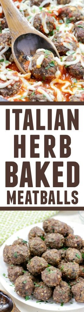 Italian Herb Baked Meatballs collage.