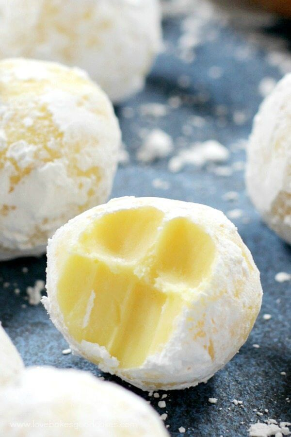 White Chocolate Lemon Truffles close up.