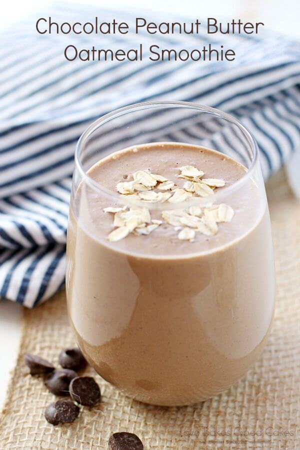 Chocolate Peanut Butter Oatmeal Smoothie in a glass with chocolate chips.