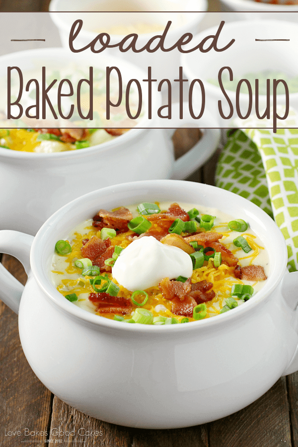 Loaded Baked Potato Soup in two bowls.