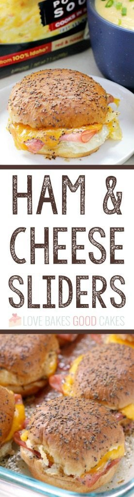 Ham and Cheese Sliders collage.