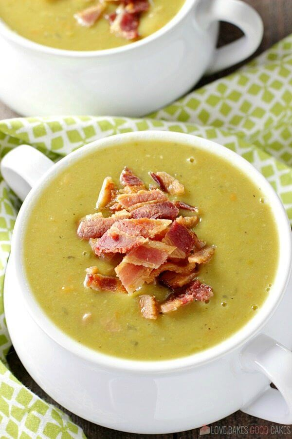 Slow Cooker Split Pea Soup in two white bowls.