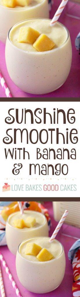 Sunshine Smoothie with Banana and Mango collage.