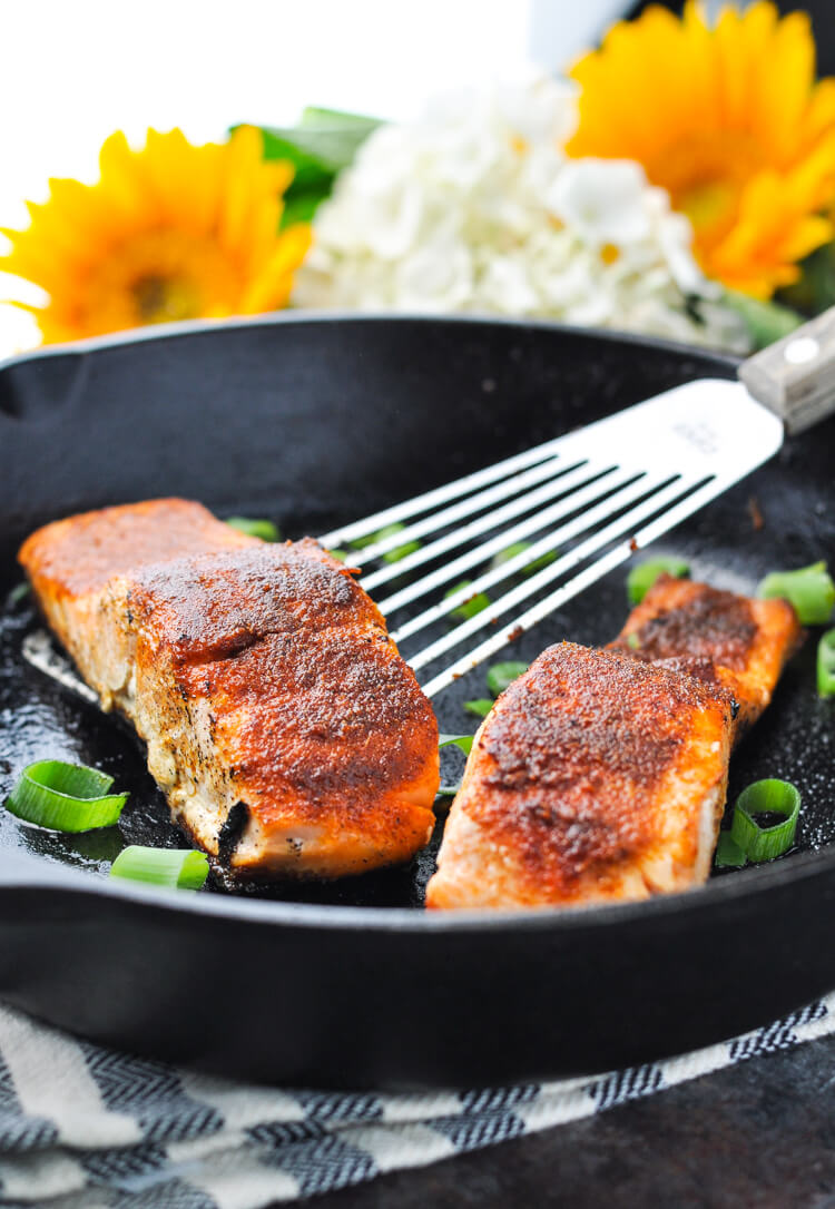 Sheet Pan Lemon, Garlic & Herb Salmon in a skillet.