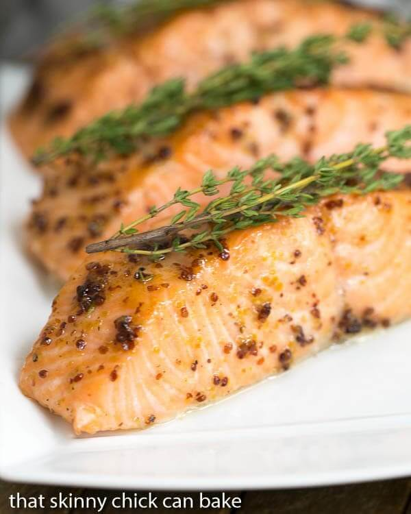 Maple-Mustard Glazed Salmon on a plate close up.