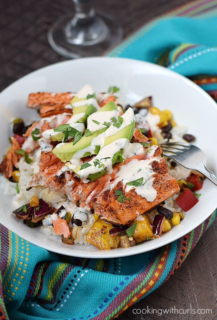 Southwest Salmon Bowl with a fork.