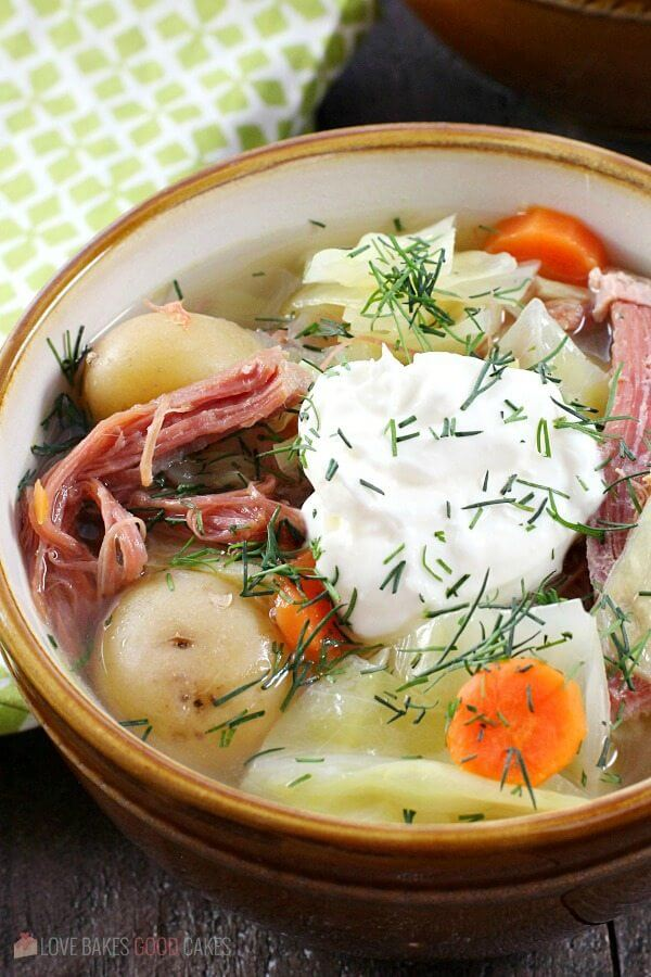 Corned Beef and Cabbage Soup in a bowl.