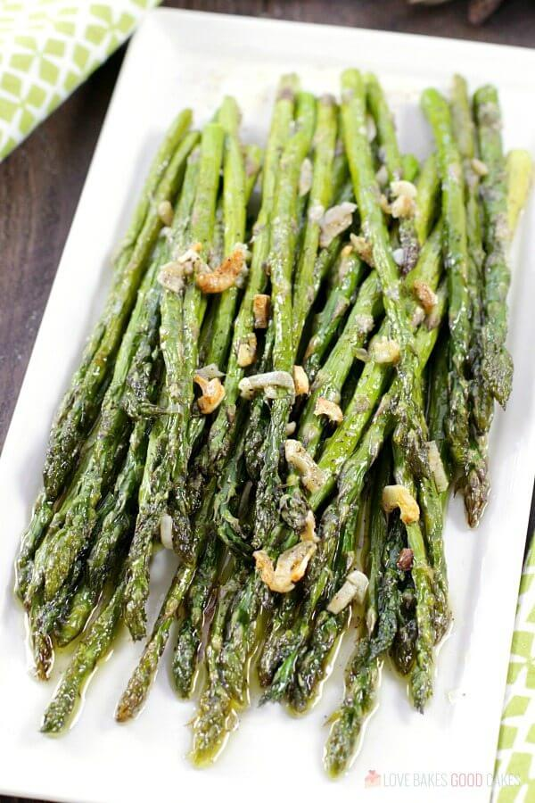 Oven-Roasted Asparagus on a white plate.