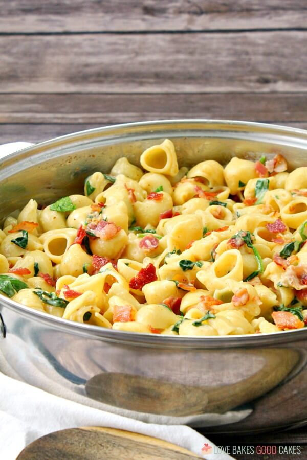 One Pot Creamy Bacon Spinach Pasta in a skillet.