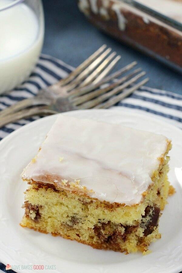 Honey Bun Cake with forks