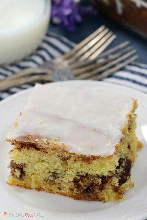 Honey Bun Cake on white plate