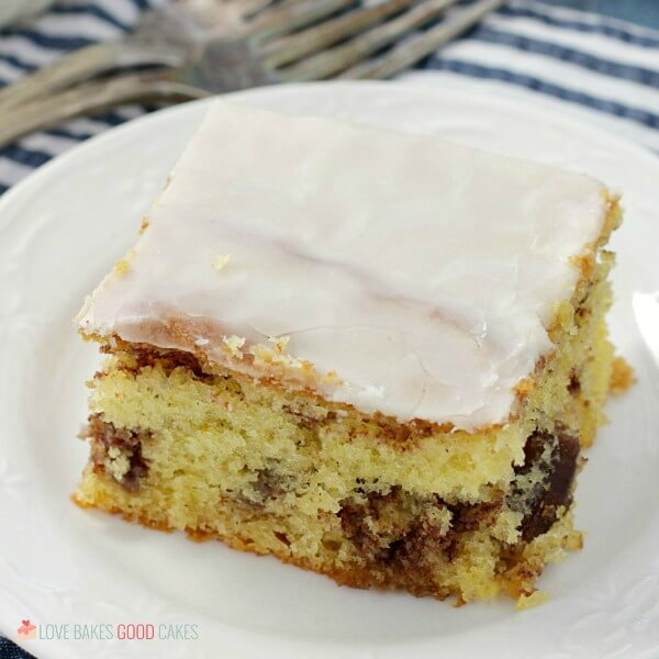 square image Honey Bun Cake on white plate