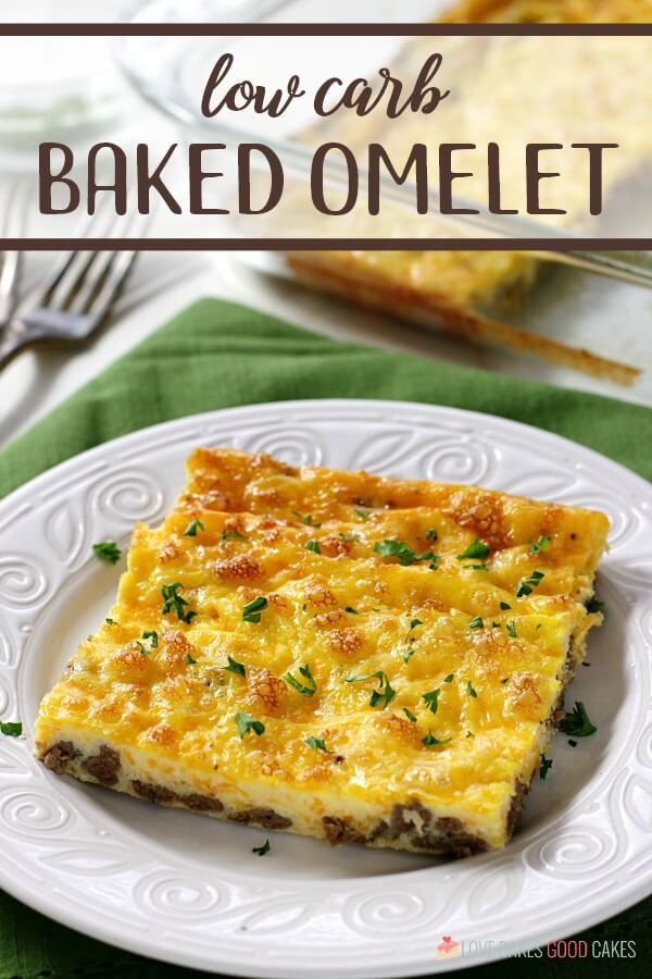 Low Carb Baked Omelet on white plate with words
