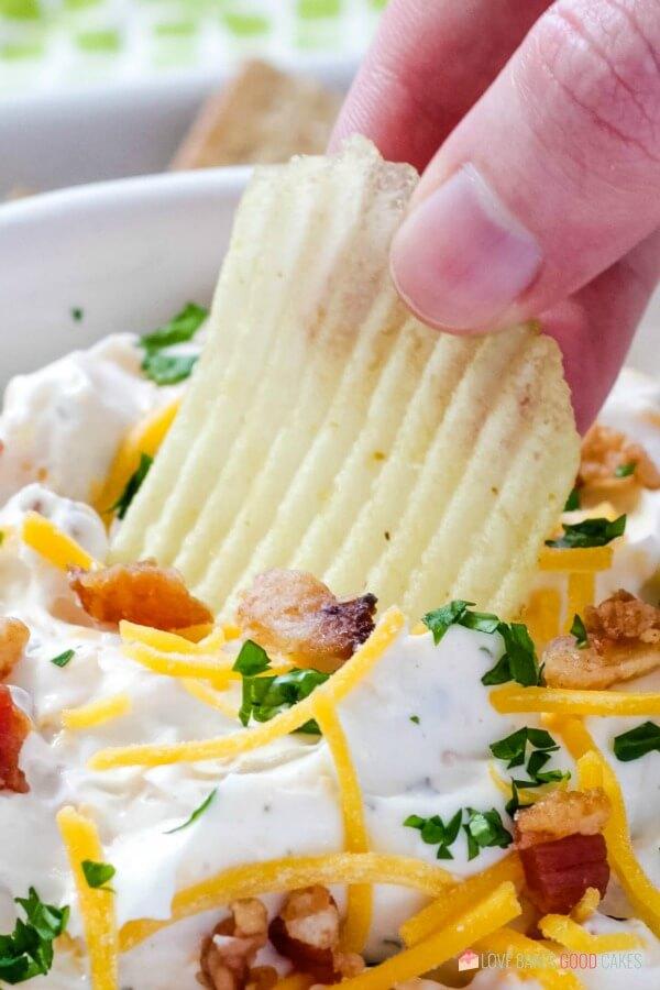 Potato chip in dip