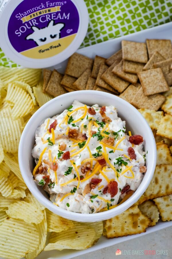 dip with assorted chips and crackers