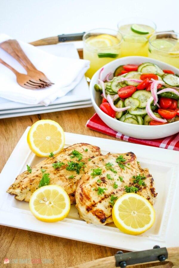 summer dinner - grilled chicken with cucumber salad