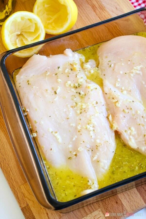 raw chicken marinating