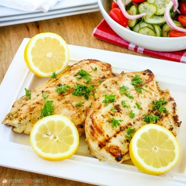 grilled marinated chicken on white plate