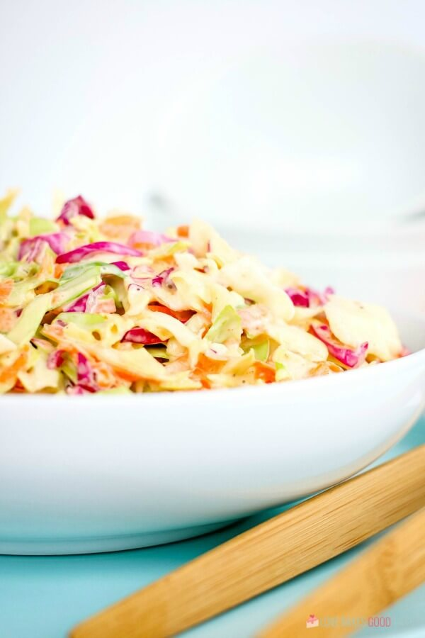 Homemade Coleslaw in white bowl