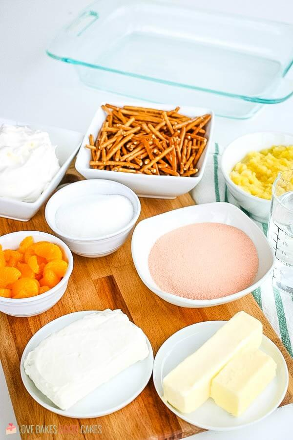 ingredients for Orange Gelatin Pretzel Salad