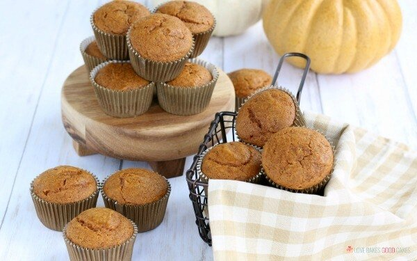 Muffins on a table make from a punpkin muffin recipe.