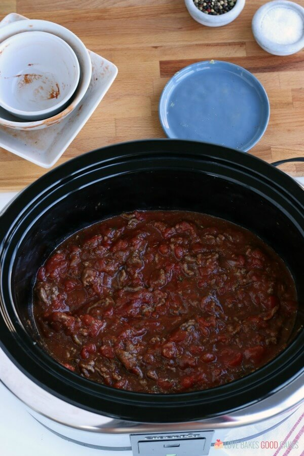 Slow Cooker Spaghetti Sauce simmering in a Crock Pot.
