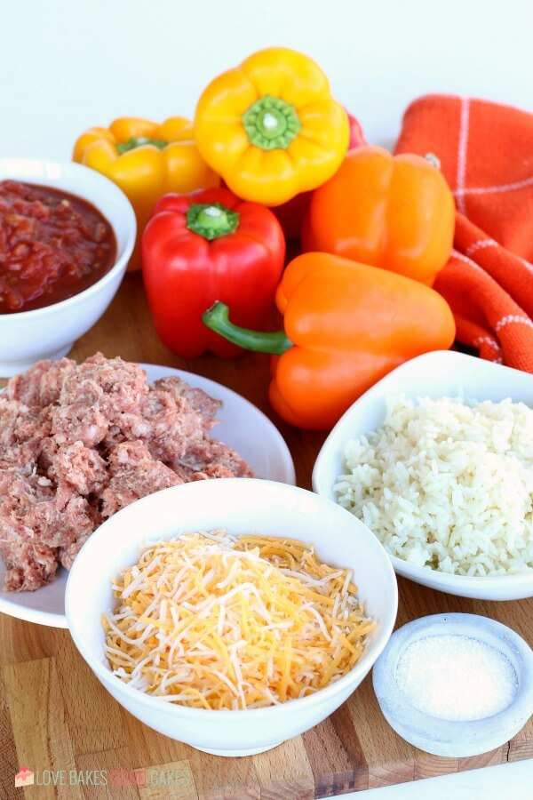 Ingredients to make the best stuffed peppers.