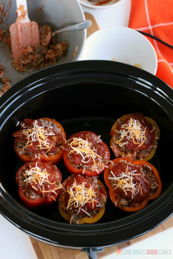 Stuffed Peppers Recipe using ground beef or sausage in the Crockpot.