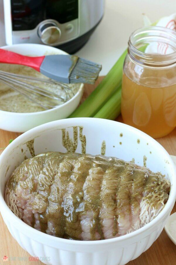 Seasonings mixed and spread onto the pressure cooker turkey breast before it goes into the Instant Pot turkey is frozen.