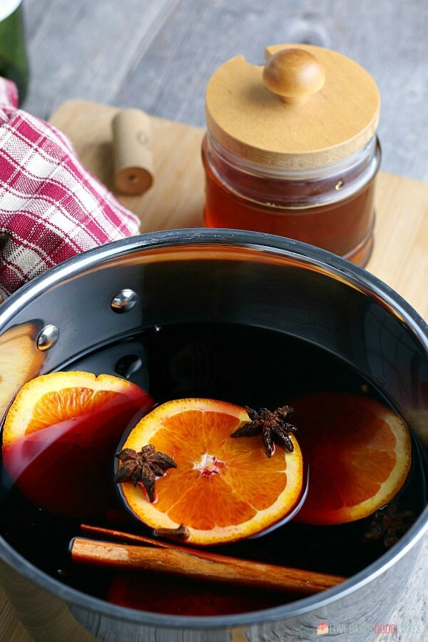 This image shows the mulled wine recipe ready to be heated and stirred.