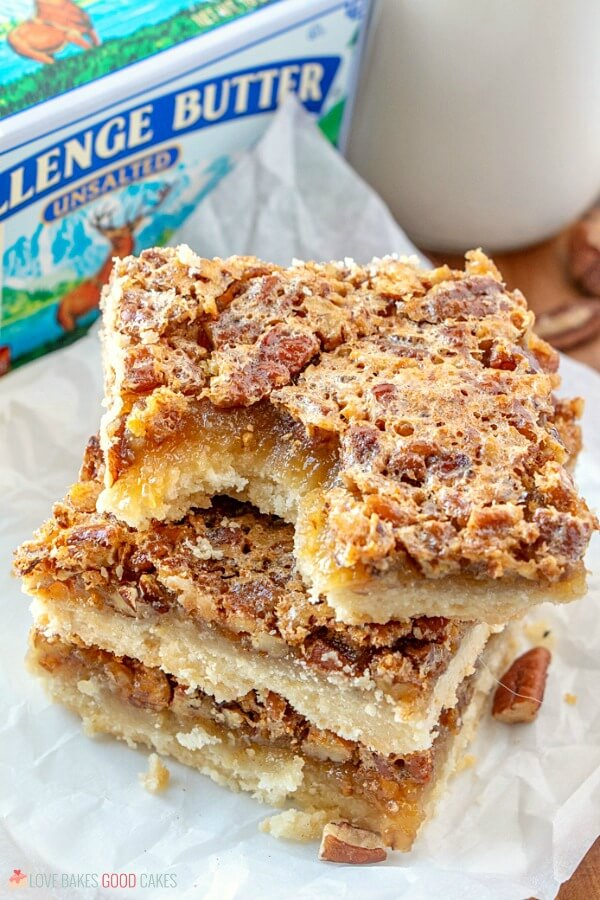 Pecan Pie Bars with a bite taken out