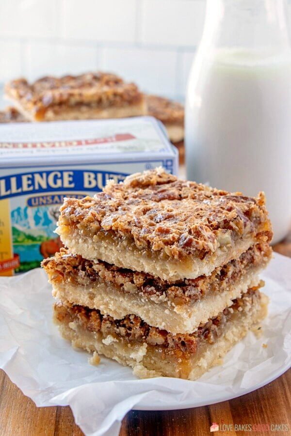 three Pecan Pie Bars stacked