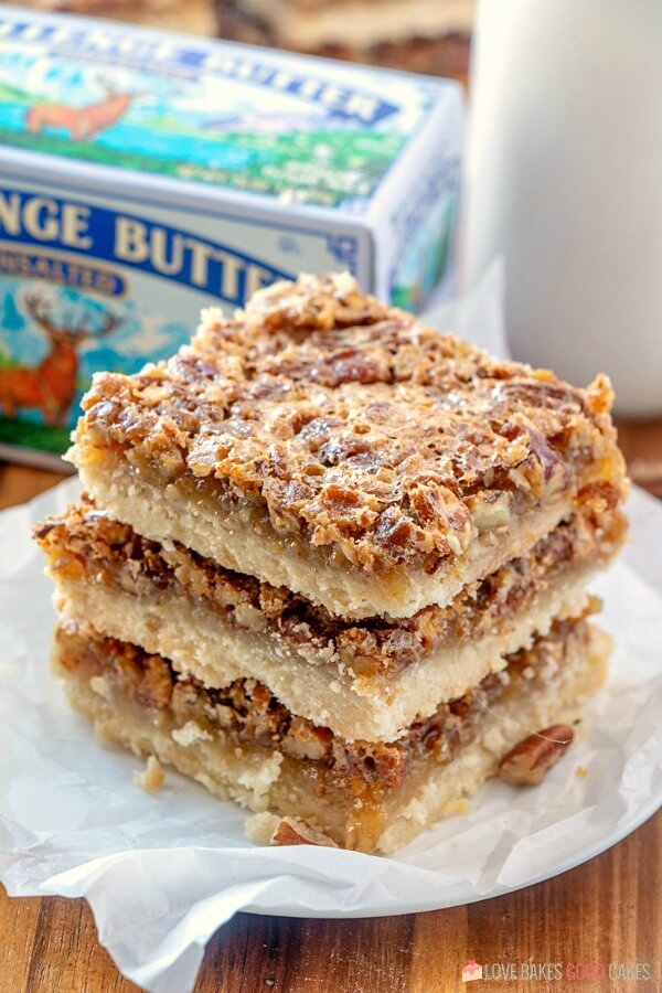 Pecan Pie Bars on plate with Challenge Butter