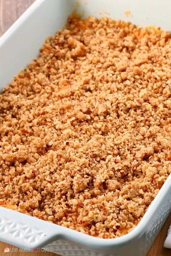 Sweet potato casserole recipe topped and ready to be baked.