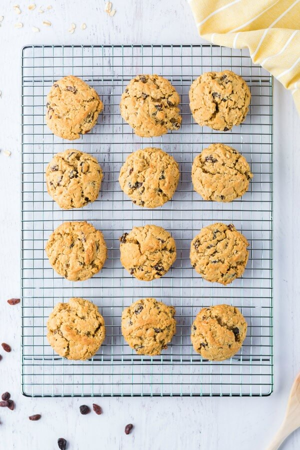 easy recipe for oatmeal raisin cookies on cooking rack