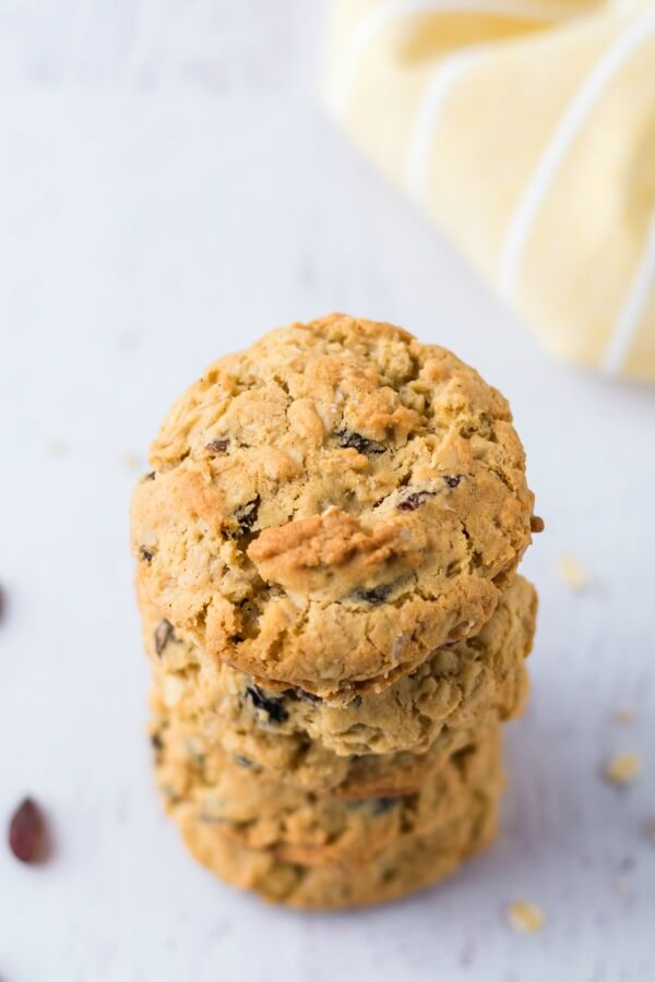 easy recipe for oatmeal raisin cookies in a stack