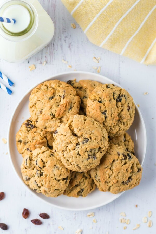 The Best Oatmeal Raisin Cookies on a plate