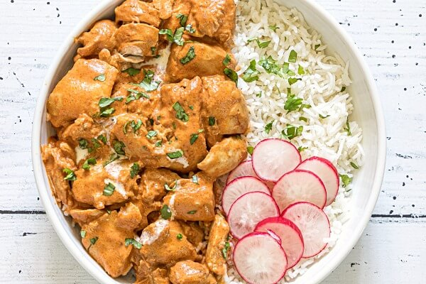 closeup of instant pot butter chicken in bowl