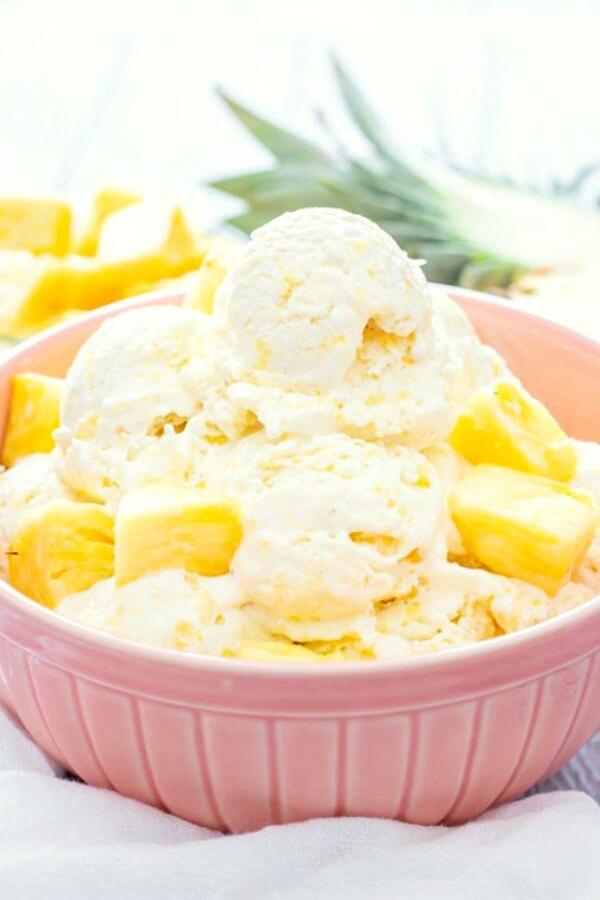 no-churn pineapple ice cream in bowl