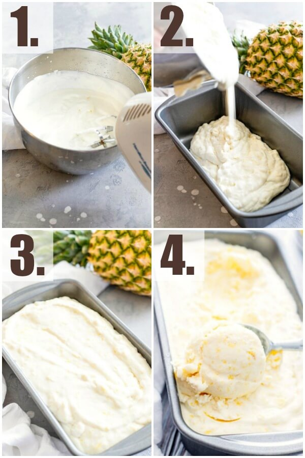 step by step how to make no-churn pineapple ice cream